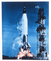A Mercury launch.  The Mercury series were manned orbiting vehicles.  Manymeteorological and earth resource photographs were taken by Mercury astronauts.