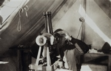 Observing longitude with Bamberg broken telescope instrument.Astro party of George D. Cowie