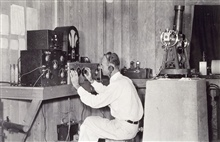 Joseph Lushene operating long-wave radio receiver.Attempting to receive time ticks.Astro party of Joseph Lushene