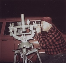 Bob Pryce observing with Wild T-4 Theodolite