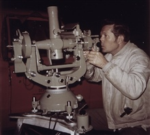 Richard Maxey observing with Wild T-4 Theodolite