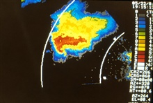 Image from the Binger Doppler Radar showing characteristic hook echo of tornado.