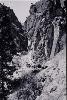 Not a good place for claustrophobia.Along the trail in Salmon River Canyon.Reconnaissance party of Oscar Risvold