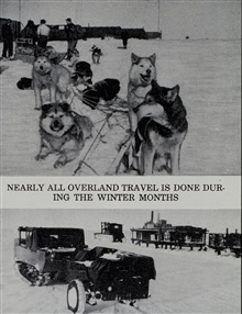 Dog sled and cat train used by Arctic Field Party.Combined operations party in Arctic Alaska.DEW Line surveys in Alaska Arctic