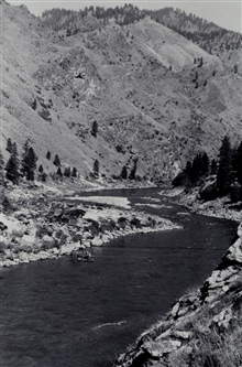 Cable car crossing on the Salmon River.Reconnaissance party of Oscar Risvold