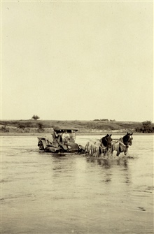 Two kinds of horsepower.Crossing the Red River near Granite, Oklahoma.Triangulation party of E. O. Heaton.