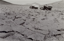 Trail through plowed field - White 3/4 ton truck.Astro Party of C. V. Hodges