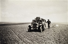 Approaching a station in an Oregon wheat field - White 3/4 ton truck.Astro Party of C. V. Hodges