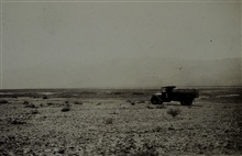 Truck on the floor of Death Valley.Reconnaissance party of William Musseter
