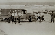 Stuck on the beach near Cape Canaveral.Topo party of L. S. Hubbard.Party off of LYDONIA