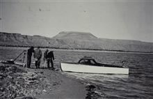 Boat used to transport level crew on Lake Meade