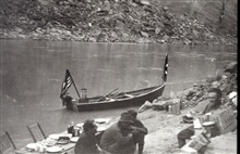 The boat was transportation for the level party.Camp in Glen Canyon.Level party of Fred E. Joekel