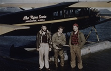 Bush plane operations.Bob Pryce on the right with Dean and Shutty