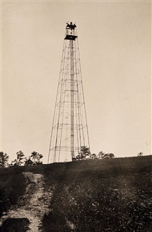 Early steel gas pipe tower built by the Lake Survey.