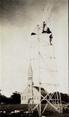 The first picture of a Bilby portable steel tower under construction.Bilby towers were made of prefabricated steel parts that could be reused.These towers were designed by Jasper Bilby, chief signalman of the C&GS;