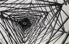 A study in geometry - looking up a Bilby tower.Station South Bend, Louisiana.Triangulation Party of Eugene R. McCarthy