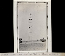 50-foot Bilby tower in Nebraska or Montana.Triangulation party of Wilbur Porter
