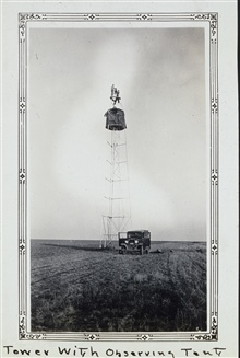 Tower with observing tent to shield the instrument from the wind.Triangulation party of Wilbur Porter