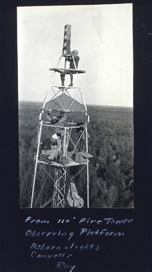Lightkeeper orienting lights for distant observers.Tower at Station Northome.Osborne at lights, Caouette recording, Tryon at tent.Triangulation party of Carl I. Aslakson