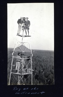 Tower at Station Northome.Caouette on left, Osborn on right, Tryon observing.Triangulation party of Carl I. Aslakson