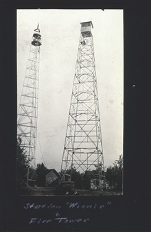 Tower at Station Winnie next to firetower.Triangulation party of Carl I. Aslakson