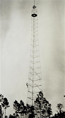 Station Hunter - 159 feet - one of the bigger towers.Photo #2 of sequence.Triangulation party of Kenneth Crosby
