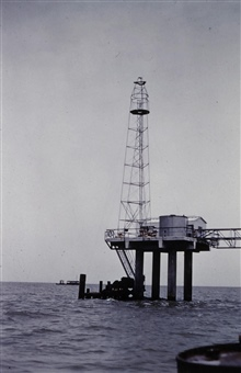 Bilby tower built on oil rig south of New Orleans.