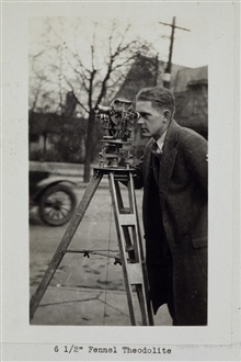 6 and 1/2 inch Fennel theodolite.Triangulation party of E. O. Heaton
