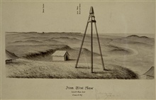 Tripod signal with tin cone for reflecting sunlight.At signal West Base, west end of Great Fire Island Base Line.Constructed by survey crews under direction of Ferdinand Hassler.Sketch by Assistant John Farley - view looking to east