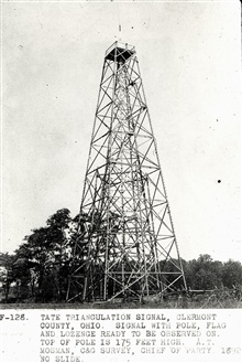 Station Tate showing attached signal pole.Top of signal pole is 175 feet above ground.Triangulation party of A. T. Mosman