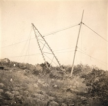 Raising one side of instrument tripod at Station Hugo.Triangulation party of William H. Burger