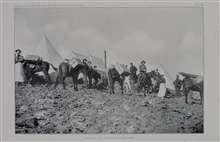 Breaking camp on Uncompahgre Peak - over 14,000 feet elevation.During the 39th Parallel Survey.Triangulation party of William Eimbeck