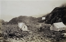 Camp on the Bulwark between Upper Cook Inlet and Prince William Sound.Triangulation party of R. P. Strough