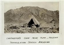 The lightkeeper's camp at Station American.Earthquake studies in Southern California.Leveling and triangulation party of F. W. Hough