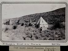 Camp at Reagan Canyon in west Texas.Spanish bayonet, rattlesnakes, and scorpions.Triangulation party of Wilbur Porter