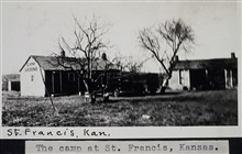 Camp at St. Francis  --  cabins and showers.Triangulation party of Wilbur Porter.Caption indicating St. Francis, Nebraska, is incorrect