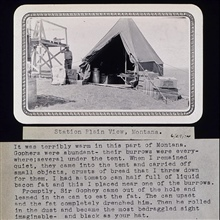 The camp at Plain View.Delightful gopher story as caption of photo.Triangulation party of Wilbur Porter