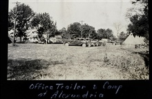 Office trailer and camp at Alexandria.Triangulation party of Carl I. Aslakson