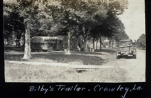 Walter J. Bilby's trailer at Crowley.Trailer camps began replacing the great tent camps in the mid-1930's.Triangulation party of Carl I. Aslakson