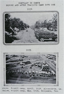 Comparison between tent camps and trailer camps.An overnight innovation - trailers became the only way to go in 1935.Triangulation party of Carl I. Aslakson