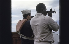 Wharton and Jeffries taking three-point sextant fix.Surveying in vicinity of Kalgin Island.On SURVEYOR