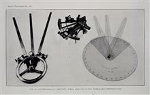 The tools of the trade for navigating during launch hydrography.Metallic and plastic three-arm protractors for plotting three-point fixes.Sextant in background.1931 Hydrographic Manual