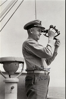 George L. Anderson taking a sun sight.Navigating on the EXPLORER