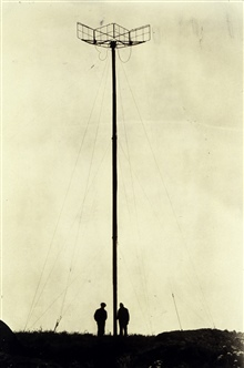 Mast and antenna system for Shoran installation.First electronic navigation antenna ever raised by C&GS.;Party off of EXPLORER.Photo No. 3 of sequence