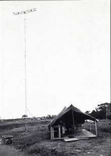 Shoran station in Liberia.Combined operations party of George Morris.Shoran used to control airplane conducting photogrammetric operations