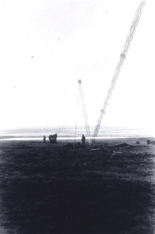 Erecting EPI (Electronic Position Indicator) antenna.EPI was a medium frequency system that was useable out to 200 miles.Invented within the Coast and Geodetic Survey