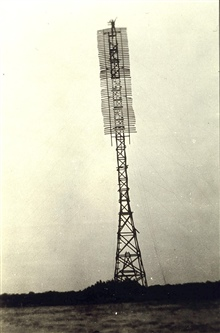 Completed 100-foot signal.Note man at top.Party off of HYDROGRAPHER