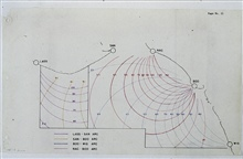 Geometry of first microwave navigation system tested by C&GS.;Converted range readings to lines of equal angles between stations.Used for high-accuracy inshore work.After testing, determined not sufficiently accurate for large-scale surveys.Tested on