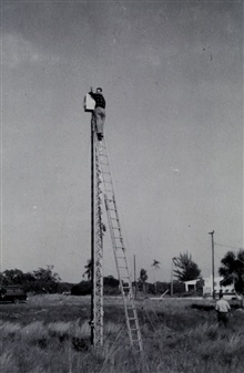 Microwave navigation system - shore installation on tower.Tower merely a platform and not loaded.Tested on SOSBEE