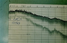 Ragged appearing fathogram trace caused by coral heads.Record from PEIRCE launch off Eleuthera Island